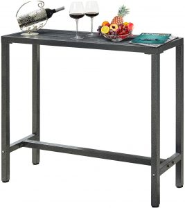 """Mr IRONSTONE Outdoor Bar Table 46.5"""" Pub Height Dining Table Bistro Patio Table"""