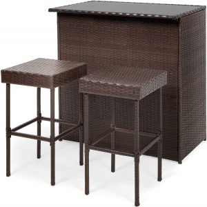 Best Choice Products 3-Piece All-Weather Wicker Bar Table Set for Patio